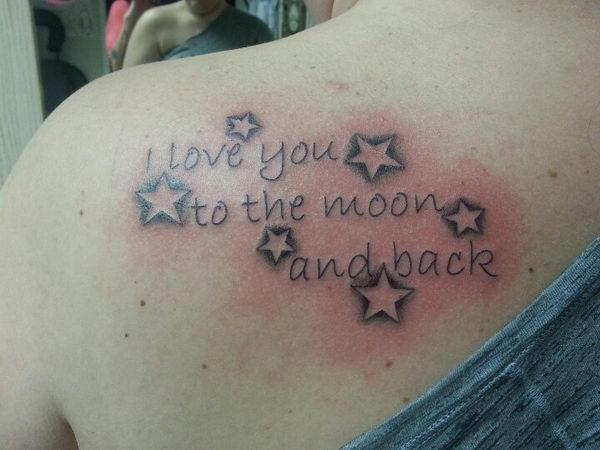 16 i love you to the moon and back with starsI Love You To The Moon And Back Tattoo Ideas